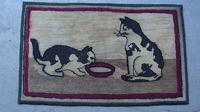 """vintage folk art hand hooked rug on burlap ... two cats. 34 1/2"""" x 21 1/2"""" *"""