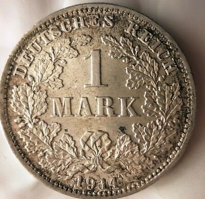 1914 D GERMAN EMPIRE MARK - AU/UNC - High Quality Vintage Silver Coin - Lot #J14