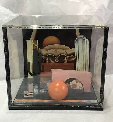 Estate Elaine Davault Mixed Media 3D Collage In An Acrylic Box Art CT Postcards