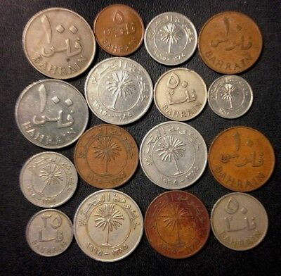Old Gulf States Coin Lot -  Bahrain - 16 Excellent Coins - Lot #J14