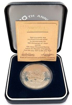 .1977 Singapore 10Th Anniversary Proof Silver Boxed L/Edition Coin With Coa.
