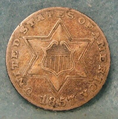 1857 Three Cent Silver VF * US Coin *