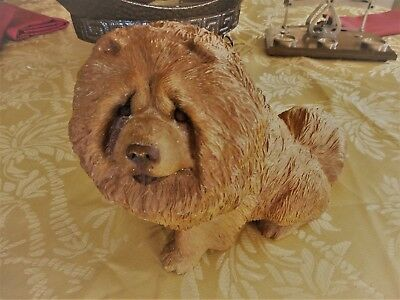 Sandcast Chow Dog Statue Signed By Artist Sandra Brue 1986