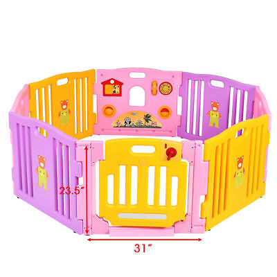Pink Adjustable 8 Panel Baby Playpen Kids Playhouse Non-Toxic PE Safety Fence