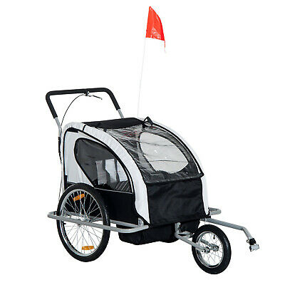 HOMCOM 2 in 1 Child Jogger Stroller Bike Trailer for Kids 2 Seater Black & white
