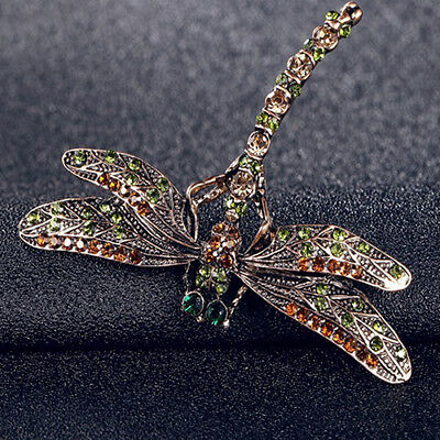 Vintage Lady Crystal Dragonfly Brooches Pin Jewelry Scarf Accessory Gift Fashion