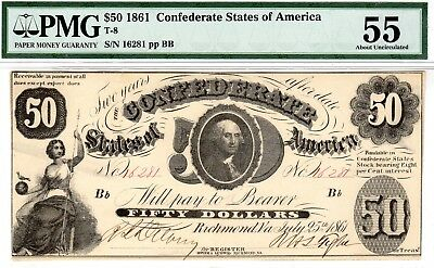T-8 PF-2 $50 Confederate Paper Money 1861 - PCGS Choice About New 58!!
