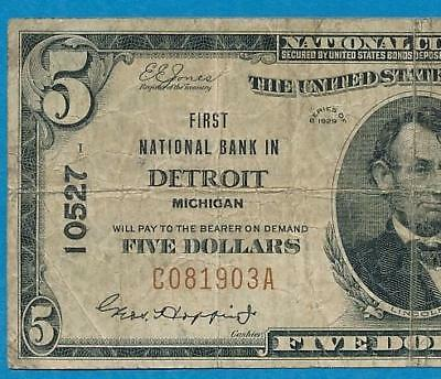 $5.00 1929 T-I First  National Bank In Detroit Michigan Chart.. #10527
