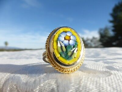 Beautiful Vintage Italian Micro Mosaic Adjustable Ring with a Flower Design