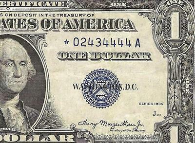 1ST SERIES 1935 $1 DOLLAR BILL STAR SILVER CERTIFICATE CURRENCY NOTE Fr 1607*