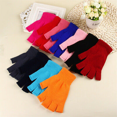 2 Pairs Soft Fingerless Stretchy Knitted Gloves Mittens Winter Warm for Unisex