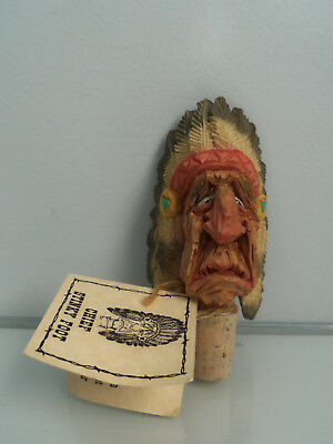 Chris Hammack- Chief Stinky Foot- Carved Wine Bottle Stopper- Spit 'n' Whittle