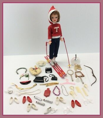 1960s Vintage Ideal Tammy Brunette Doll Snow Bunny Skiing + Many Accessories