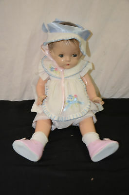 """Antique composition jointed hard hair baby doll 18"""" w clothes 1650#7"""