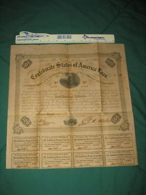 2/20/1863 CSA $100 Bond w/8 attached Coupons...99 cents...NR!