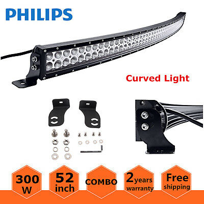 """Philips 52""""inch 300W Curved Led Work Light Bar Combo Off-road 4WD Jeep Ford /53"""""""