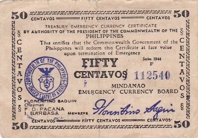 1944 Philippines Mindinao 50 Centavos Note, Series F, Pick S514