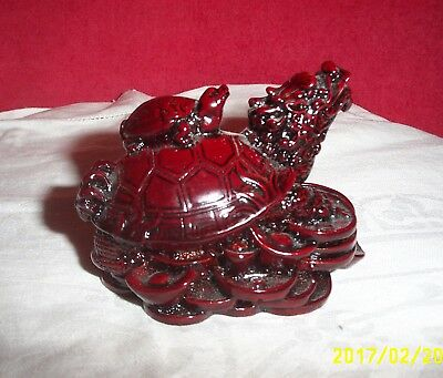 Chinese Resin Turtle with baby on back on Chinese coins Deep Red Figurine #1533