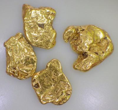 GOLD NUGGETS (4) Natural Alaska Placer 3.061 GRAMS AK .0984 OzT High Purity