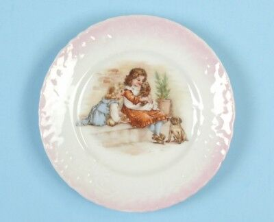 RARE ANTIQUE Pink Lustre Porcelain CHILDREN'S PLATE Girls With Puppies PUG DOG