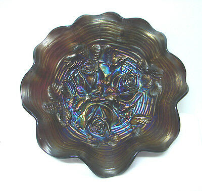 SPECIAL Scarce purple Northwood carnival glass ruffled rose show bowl 1900's