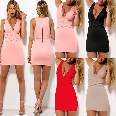 Womens V Neck Slim Bodycon Party Evening Cocktail Bandage Mini Dress Clubwear