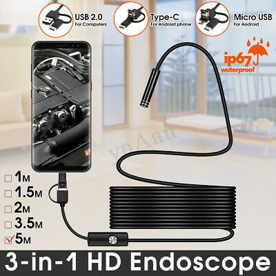 3 in 1 Type C Micro USB Endoscope Inspection Camera Cable 1-5m 7mm 6LED For PC