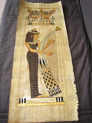 """Huge Signed Handmade Papyrus Egyptian_Royal Musicians_Painting 32""""x12"""" Inches"""