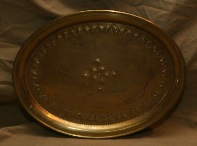 Vintage Antique Hand Hammered Brass Plate Ornamental Oval Serving Tray FRIESCHE