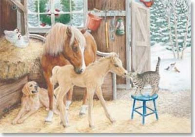 Xmas Cards Pony MARE & FOAL in Barn Holiday Cards 10 per box