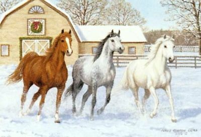 Xmas Cards Three HORSES with Barn Snow Scene Cards 10 per box
