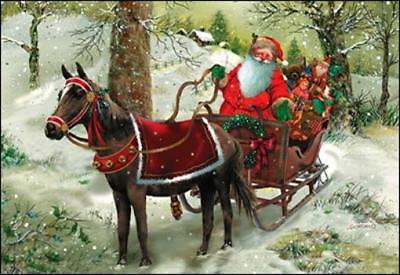 Xmas Cards Horse Pulling Santas Sleigh Holiday Cards 10 per box made in USA