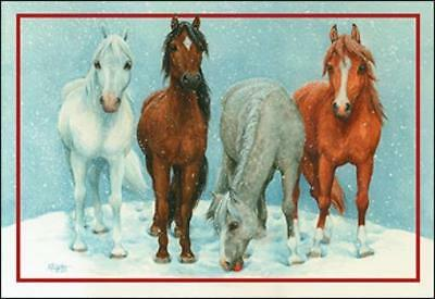 Xmas Cards Four Adorable Horses Holiday Cards 10 per box made in USA