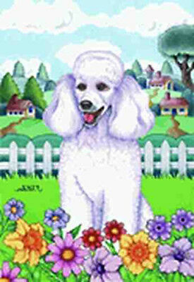 NICE! POODLE WHITE Spring Colors Garden Flag
