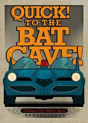 DC Comics Metal Poster Gotham City Motor Club Batmobile 1966 10 x 14 cm Tin amp