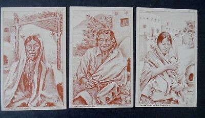 Lot of 3 Different Taos New Mexico Indian Postcards by E H Bischoff