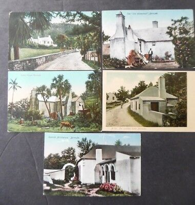 Lot of 5 Bermuda Architecture House Home View Postcards 1910s-20s