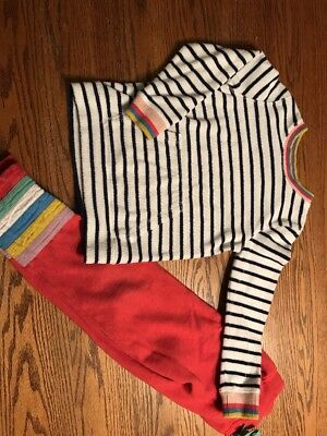 Mini Boden Girls Size 6-7 Striped, Terry Shirt, Size 7 Pants Outfit