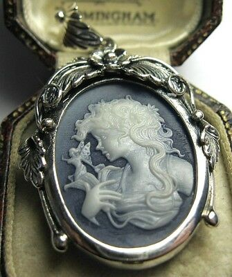 VINTAGE Style STERLING SILVER Pretty Fairy Mystical CAMEO JEWELLERY PENDANT