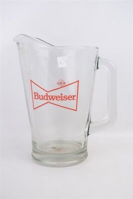 """Vintage Budweiser Official Product Thick Glass Pitcher 9"""" Tall"""