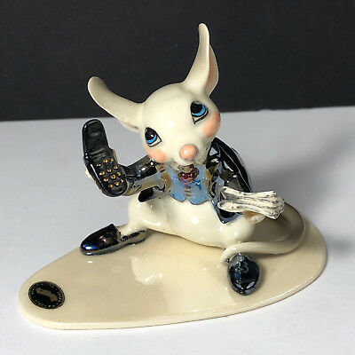 HAGEN RENAKER MOUSE FIGURINE Mice wall street journal cell phone suit porcelain