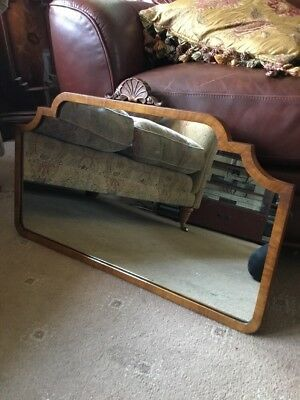 Vintage Art Deco Nouveau Wall Mirror Wood Walnut Veneer Large Mantle Antique