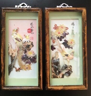 "2 Vintage Bird Blossom Shell Carving Pictures 9"" X 4"""
