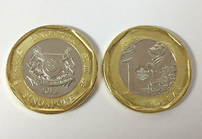 Singapore 1 Dollar 2013 The Merlion Lion Bi-Metallic Unc Lot 5 Coins