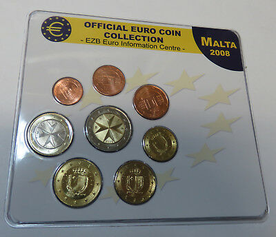 Official Euro Coin Collection Ezb Bank Malta 2008 1 Cent - 2 Euro Selten