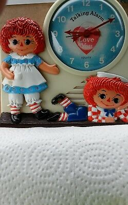 Original Raggedy Ann Andy Wind-Up Talking Alarm Clock, Andy Andy please wake up!