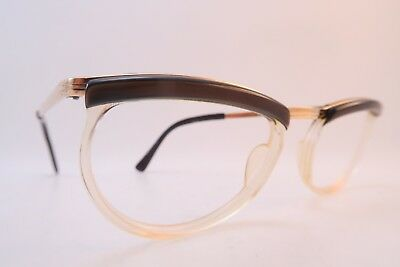 Vintage 50s eyeglasses frames gold filled FIDELA brown brow size 50-22