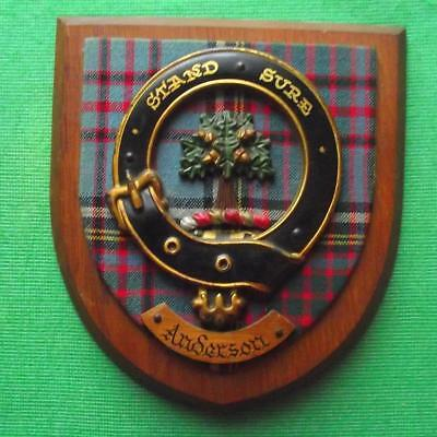 Vintage Scottish Hand Carved Oak Clan ANDERSON Tartan Plaque Crest Shield B