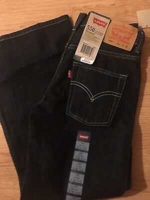 Levis 550 Relaxed Fit Tapered Boys Size 12 Reg Dark Blue  Denim Jeans 24x26-NWT