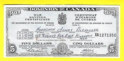Dominion Of Canada $5 War Savings Certificate With Original Gift Envelope